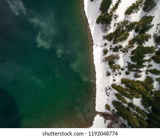 Green Lake Water Topview Contrast Snowy Shore
