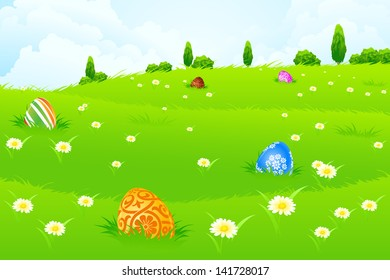 Green Landscape Background with Easter Eggs, Flowers, Trees and Clouds