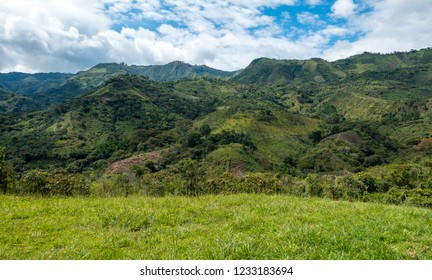 Green landscape in the Colombian Highlands, Andes Mountains, Tierradentro, Colombia, South America