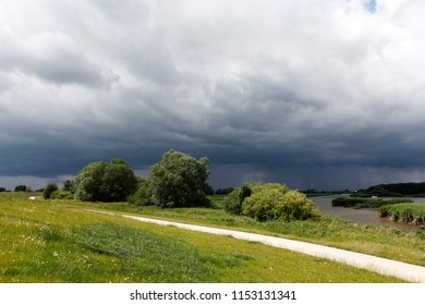green landscape with dike, trees and small road under dramatic grey sky next to an arm of the river Weser in Warfleth, Germany at low tide