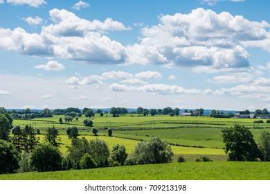 Green landscape, look over meadows blue sunny sky