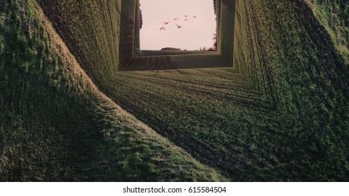 Green landscape - Surreal inception concept