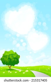 Green Landscape with  Tree, Grass, Road and Heart Shape Clouds