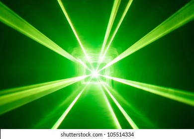 green laser light background with smoke