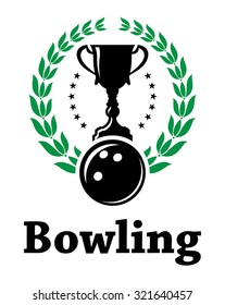Green laurel wreath with black blowing ball and champion trophy of Sport bowling league label or emblem suitable for sporting heraldry design