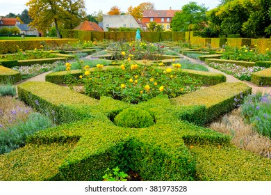 Green lawns in the Park in the center of Copenhagen, near the Rosenborg Castle, Denmark