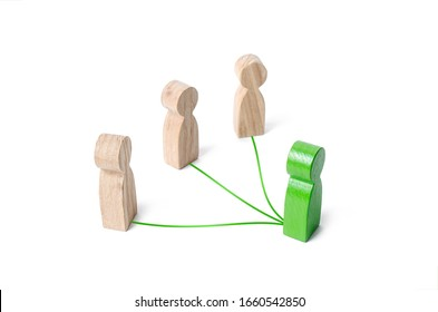 Green leader connected with people by lines. Optimization and high work efficiency. Distribution of powers, decentralization of authority responsibilities. Supervision and guidance. Give orders.