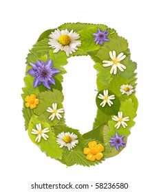 Green leaf  number whit flower in white. Number 0