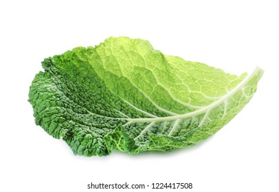 Green leaf of savoy cabbage on white background