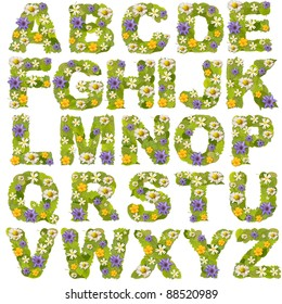 Green leaf whit flower fonts in white. Letter collection