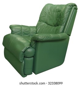 Green Leather Armchair isolated with clipping path.