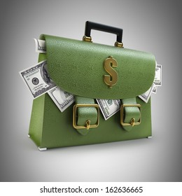 Green leather briefcase with dollars. High resolution 3d render