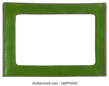 green leather label, green leather frame, isolated