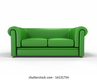 green leather sofa isolated on white background -digital artwork