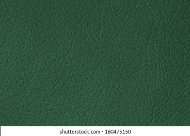 Green leather texture closeup, useful as background