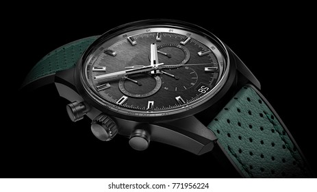 green leather watch for men