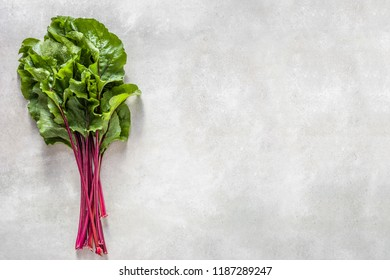 Green leaves of beet. Fresh vegetables, healthy diet, vegetarian food concept.