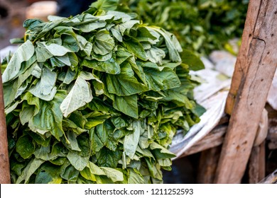 Green leaves cicory being sold in a local market, Africa.
