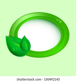 Green leaves with circle. Eco concept. Raster version.