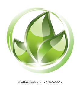 Green leaves in circles, eco concept