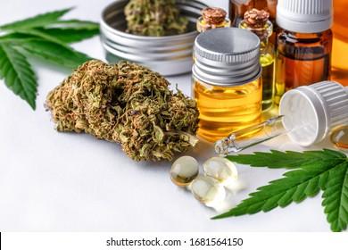Green leaves of medicinal cannabis with extract oil cbd.Medical marijuana flower buds. Hemp buds - medical marijuana concept