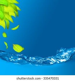 Green leaves with shallow depth of field of water and falling leaf