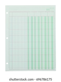 Green Ledger Graph Paper Isolated on White Background.