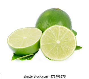 Green lemon isolated on white background