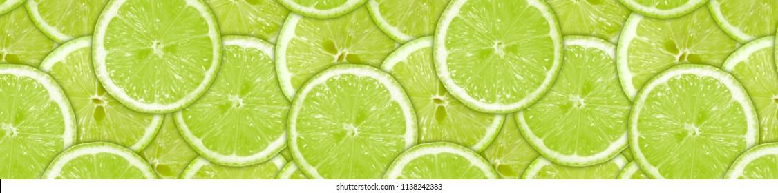 Green lemon panorama. Horizontal 3d Image for wall glass panels in the kitchen (skinali)