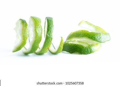 green lemon twist on white background