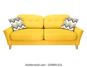 Green lemon yellow sofa with pillow. Soft lemon couch. Modern divan on isolated background