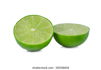 Green lemons  on white background