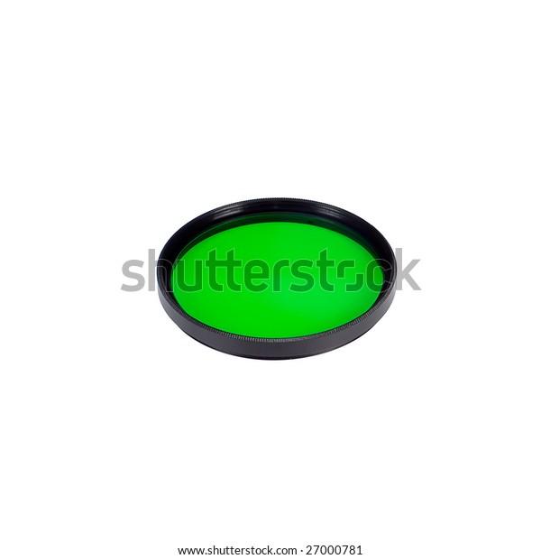 green lens filter over white background
