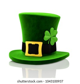 Green Leprechaun Hat With Clover St.Patrick's Day 3D Illustration