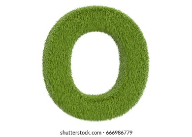 Green letter O from grass closeup, 3D rendering isolated on white background