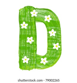 The green letters D drawn by paints with white blossom