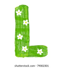 The green letters L drawn by paints with white blossom