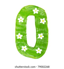 The green letters O drawn by paints with white blossom