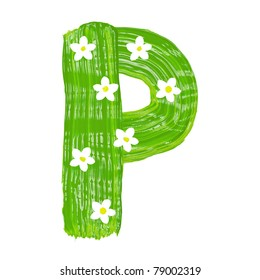 The green letters P drawn by paints with white blossom