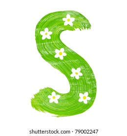 The green letters S drawn by paints with white blossom