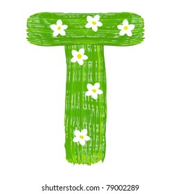 The green letters T drawn by paints with white blossom
