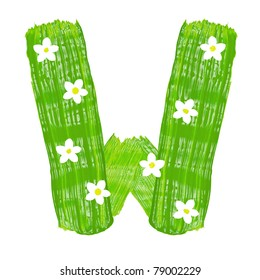 The green letters W drawn by paints with white blossom