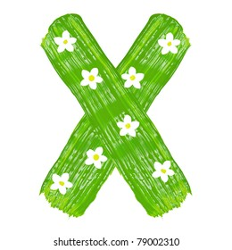 The green letters X drawn by paints with white blossom