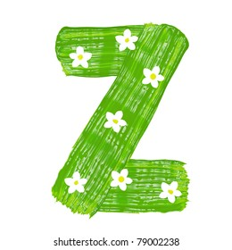 The green letters Z drawn by paints with white blossom