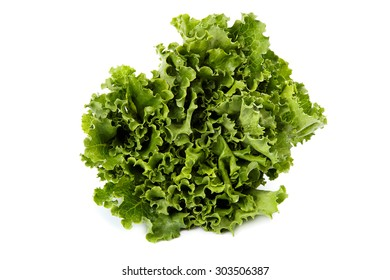 Green lettuce isolated on white background.