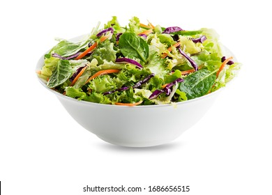Green lettuce salad with fresh mixed vegetables isolated on white background