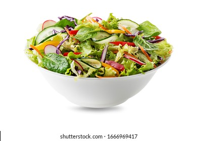 Green lettuce salad with fresh vegetables isolated on white background - Shutterstock ID 1666969417
