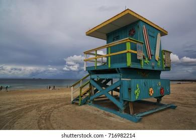 Green lifeguard tower in Miami beach