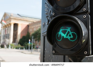 Green Light for Bicycle Lane on Traffic Light at Budapest, Hungary.