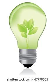 Green light bulb / eco concept